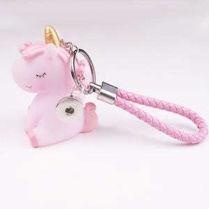 Keychain DIY Keyring JEWELRY Snap-Button Unicorn Stich PINK Silicon PK507 18mm BLUE