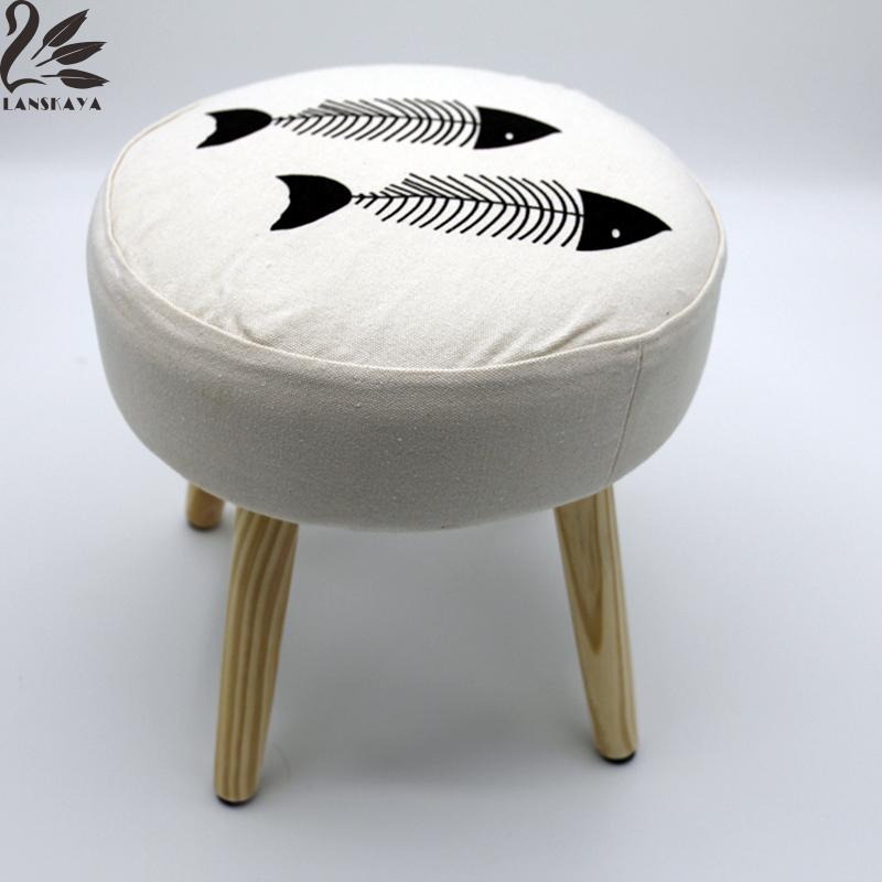 2017 Pouf Poire Chair Pouf Fish Simple Literary Minimalist Modern Style Wooden Stool For Bar Dining Living Room Outdoor Balcony