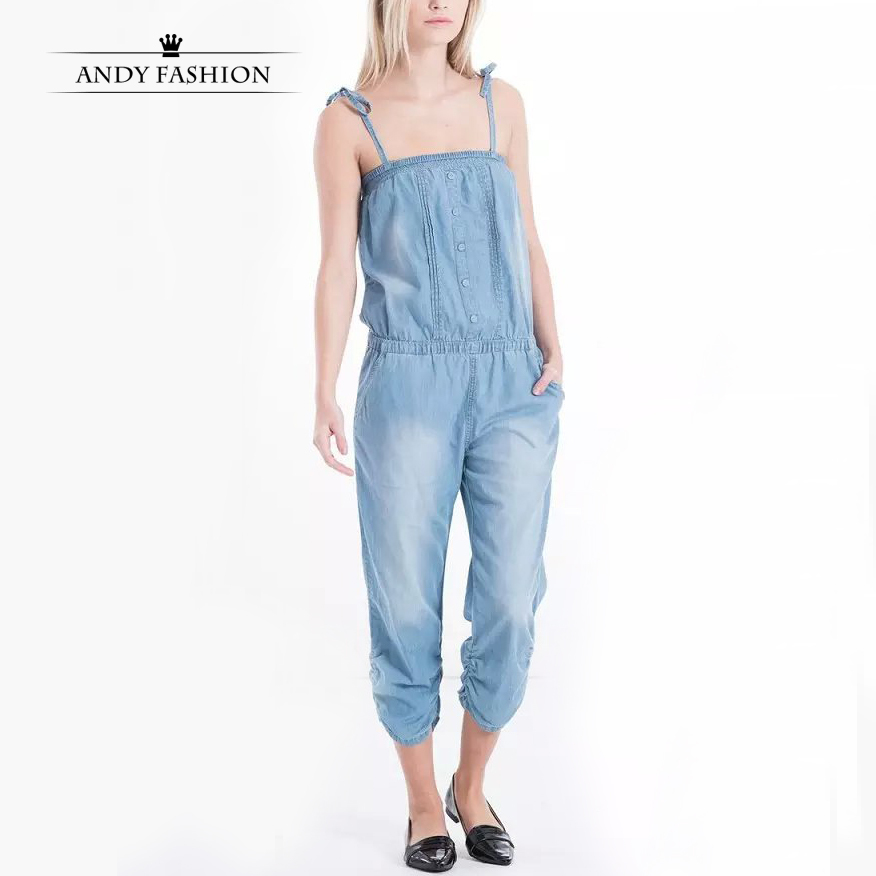 Denim Capri Jumpsuit