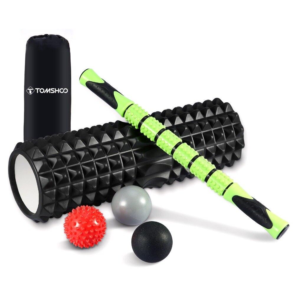TOMSHOO 6-in-1 Фитнес-массажер роликовый комплект 18 Большая пена валик для мышц палка 3 массажные шары глубокая ткань назад физическая терапия