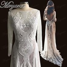 Mryarce תחרה בוהמי חתונת שמלת נמתח ארוך שרוול גב פתוח Boho שיק שיפון זורם שמלות הכלה robe דה mariee