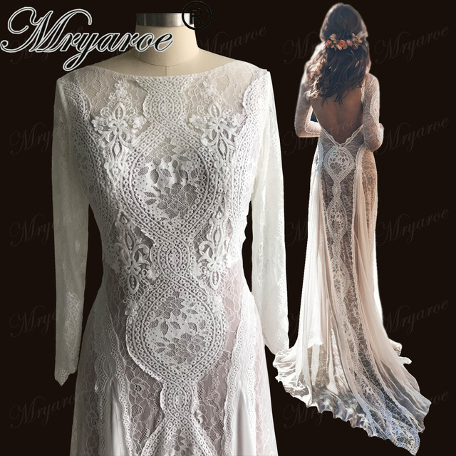 Mryarce Lace Bohemian Wedding Dress Stretchy Long Sleeve Open Back Boho Chic Chiffon Flowing Bridal Gowns