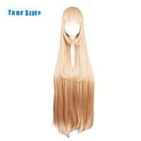 Your Style 100cm Long Straight Orange Cosplay Hair Wigs Womens For Costume Party Blonde Yellow Synthetic High Temperature Fiber
