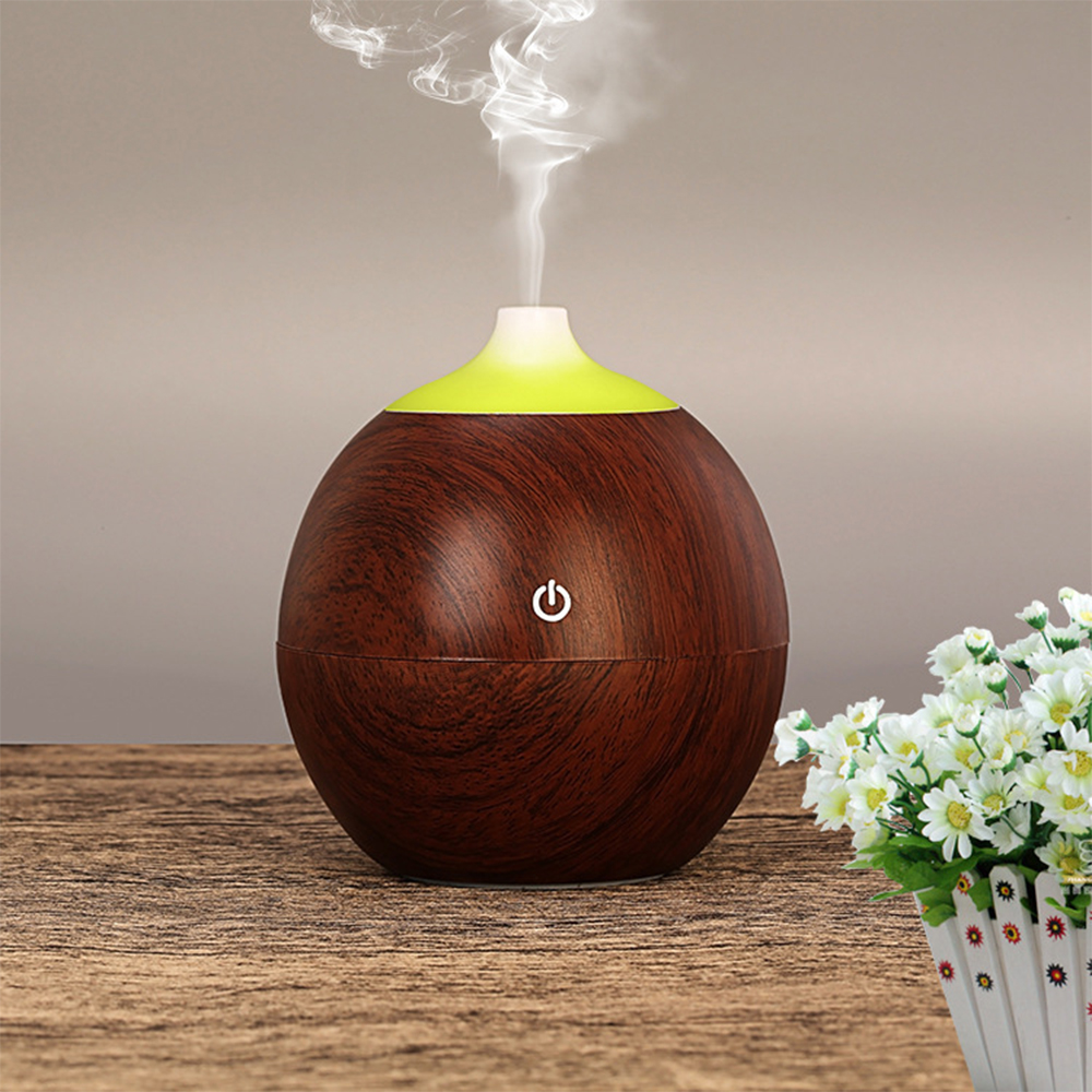 USB Air Humidifier 130ML Ultrasonic Mist Maker Diffuser Aromatherapy Electric Mini Air Diffuser Wood Grain for Home/Car/Office home car dual use mini usb vehicle aromatherapy humidifier ultrasonic air water supply instrument atomizer