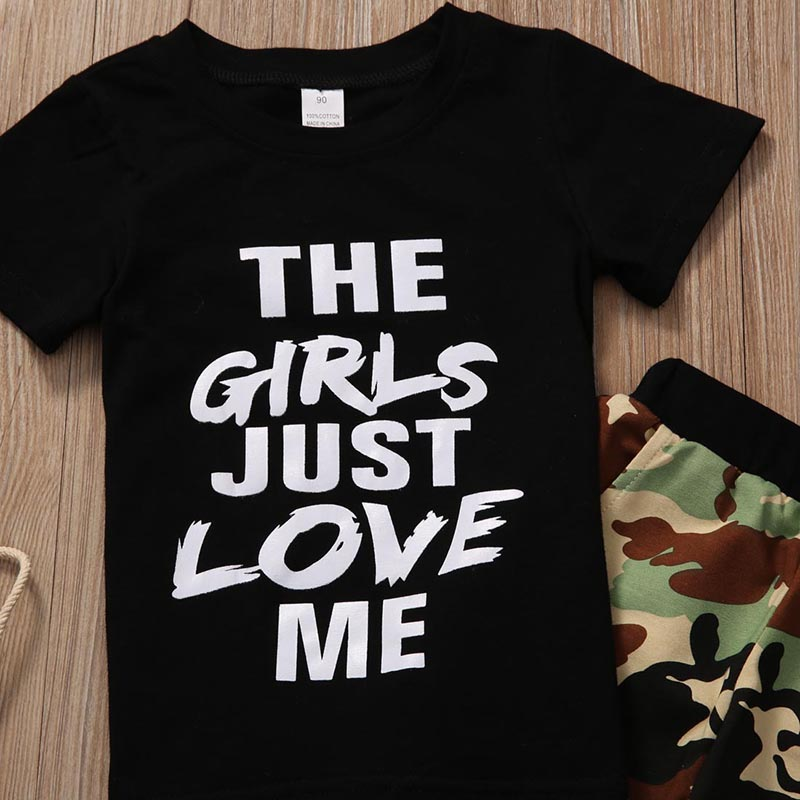 New Fashion Toddler Kids Boy Clothing Set Short Sleeve Letter Print Cotton T-shirt Tops+Camouflage Pant 2PCS Outfit Clothes