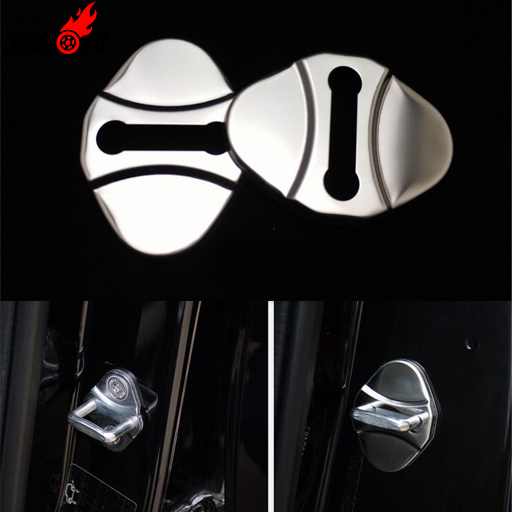 4pcs/set For Land Rover LR Range Rover Velar 2018 Car Styling Door Lock Buckle Trim Protector Cover Cap Sticker Stainless Steel