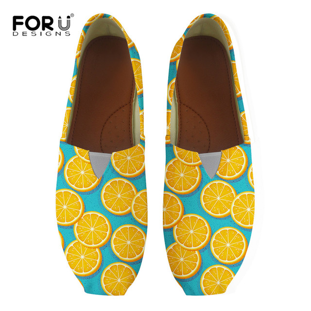 7f0d55b97 FORUDESIGNS Lemon Yellow Printing Loafers Flat Women Shoes Ladies Slip-on  Round Toe Big Size 35-45 Casual Cloth Shoe Comfortable