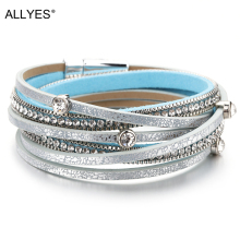 ALLYES Multilayer Leather Bracelets For Women Femme Trendy Boho Crystal Beads Charm Braclet Female Statement Jewelry