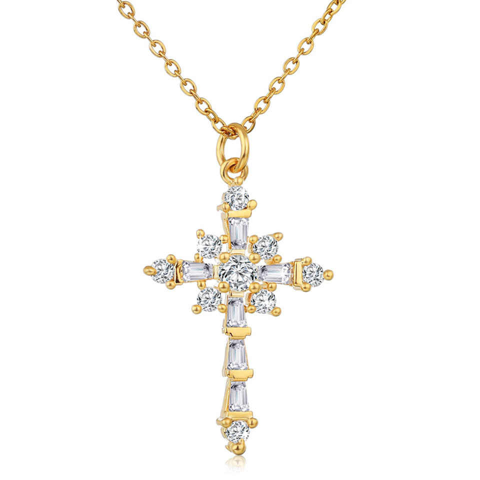 Luxury Gold Cross Necklace Gothic Jewelry AAA Zircon Cross Pendant Necklace Stainless Steel Gold Chain Chokers Necklace Gifts