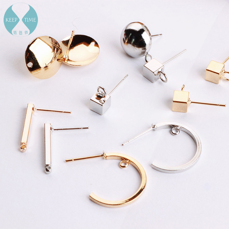 C shape round square ear hook earrings pendants ear clip earrings accessories diy handmade earrings product material faux rammel alloy round square earrings