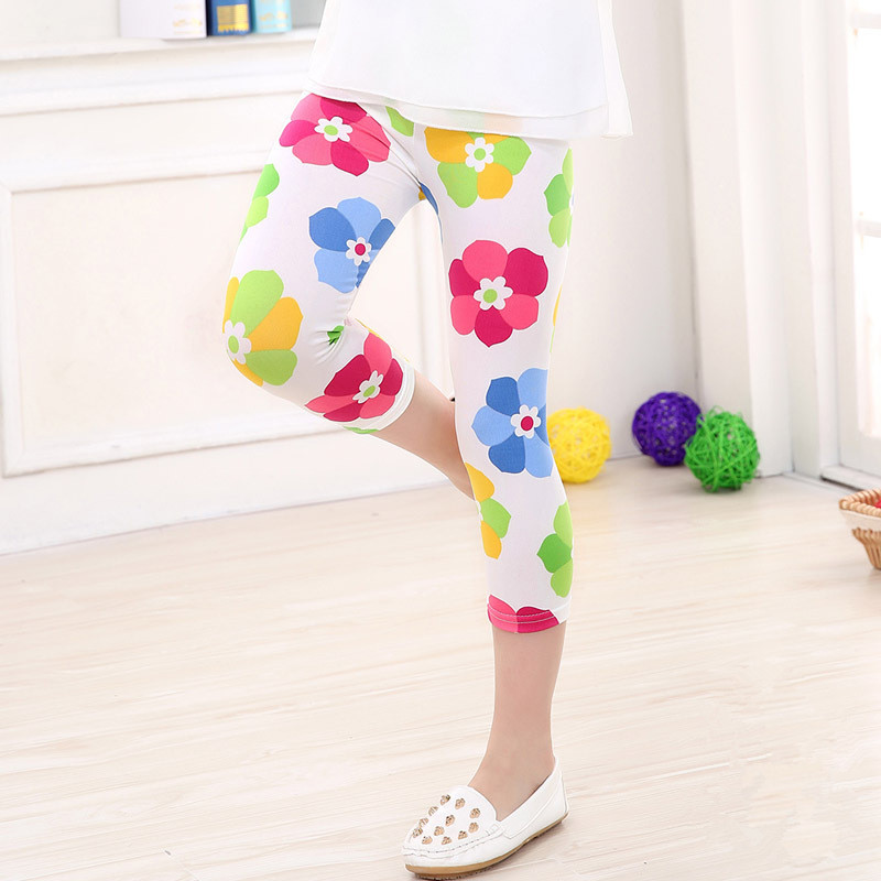 Child Kid Girl Floral Print Skinny Casual Stretchy Long Leggings Pants Trousers