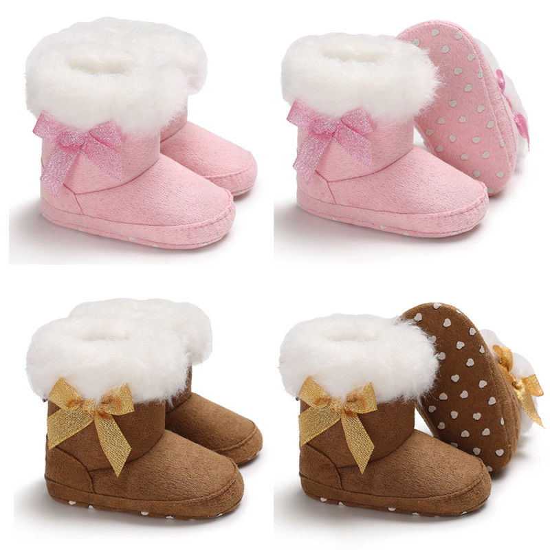 Newborn Baby Toddler Warm Boots Kids Boys Girls Winter Snow Fur Shoes 0-18M KN