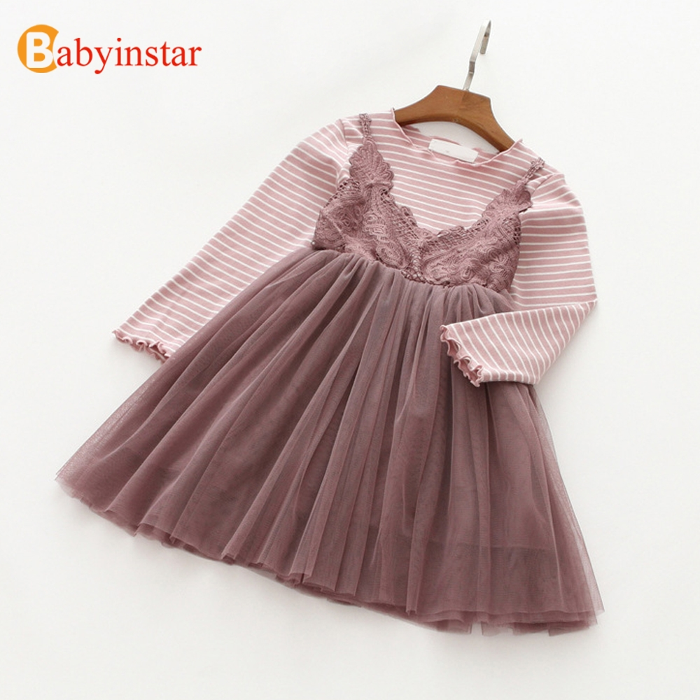 Babyinstar Girls Dress 2018 New Baby Girls Clothes Fake Two Pieces Children's Dress Stripe Lace Kids Dresses for 3-10Y Girl
