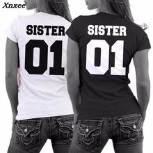 T-shirt Women Sister 01 Letter Printed Tee Shirt Femme Girlfriend Short Sleeve Tops Couple Twin Casual Tee Tops Camisetas Mujer недорого