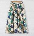 2016 mujeres del verano de faldas de algodón ocasional largo floral falda de las mujeres