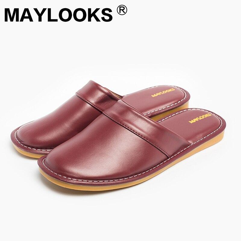 Zapatillas de mujer Zapatillas de primavera y otoño de cuero de pu de goma para el hogar Interior antideslizantes Zapatillas de mujer térmicas 2018 New Maylooks M-8833