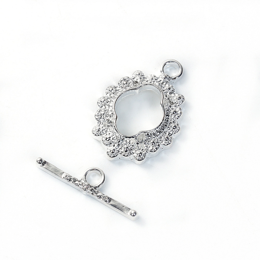 DoreenBeads Zinc Based Alloy Silver Color Toggle Clasps Flower Pattern Components 23mm X16mm, 21mm( 7/8