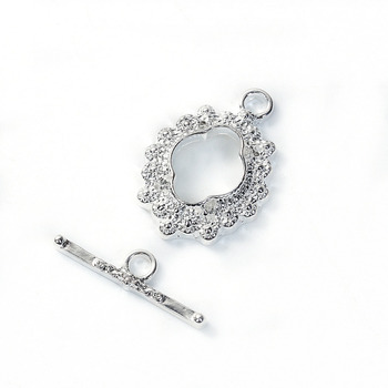DoreenBeads Zinc Based Alloy silver color Toggle Clasps Flower Pattern Components Jewelry DIY 23mm x16mm, 21mm x 6mm, 2 Sets hot 10pcs zinc alloy plating silver plum flower deer
