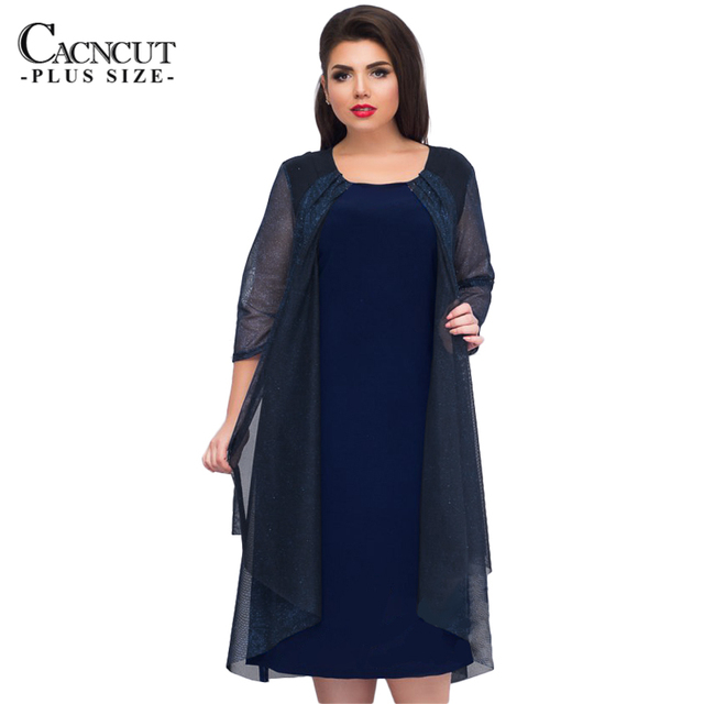 Summer Dress Casual Plus Size Women Mesh Dresses Spring 2018 Elegant Big  Sizes ladies Office Vestidos Blue Loose Dress 5XL 6XL 8a4ca75e8636