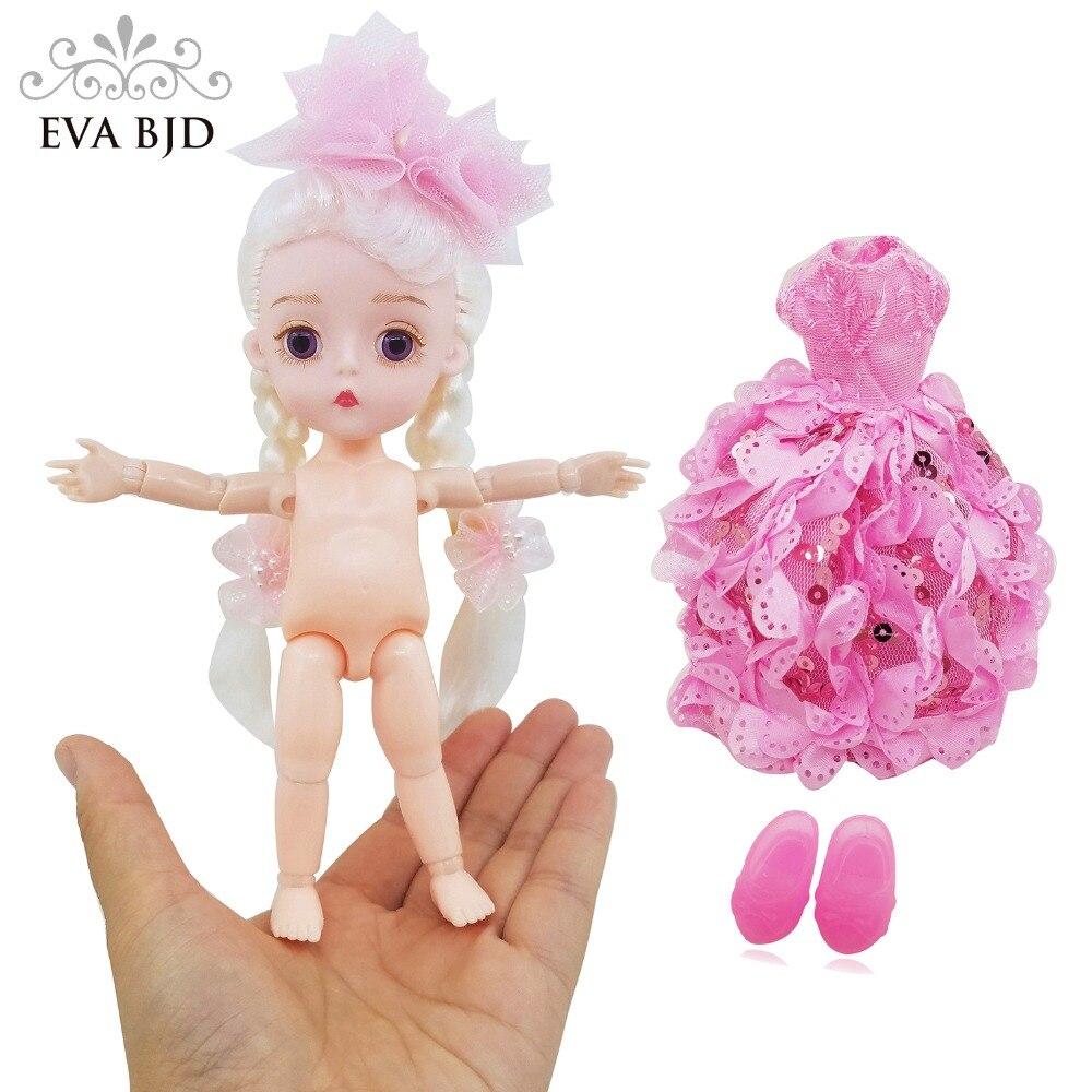 "1/8 <font><b>EVA</b></font> BJD Brand NEW Finger Princess Doll 1:8 Cute 15cm 5.9"" SD Doll BJD jointed dolls ABS + Clothes <font><b>Dress</b></font> For Child Gift"