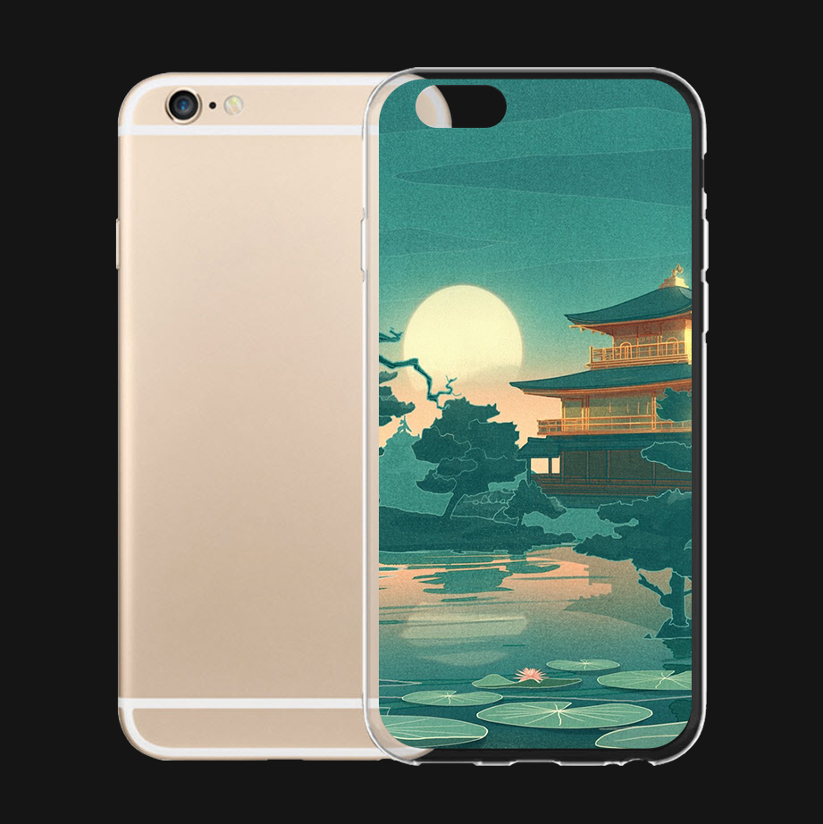 Chinese Traditional Building and Pool Fun Art For iPhone 6