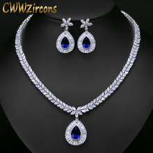 CWWZircons High Quality White Gold Color Cubic Zirconia Paved Big Water Drop Bridal Wedding Necklace And Earring Set T274