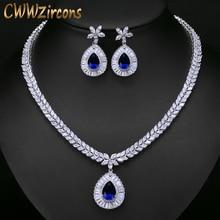 CWWZircons באיכות גבוהה לבן זהב צבע מעוקב Zirconia סלול גדול מים זרוק כלה חתונת שרשרת ועגיל סט T274