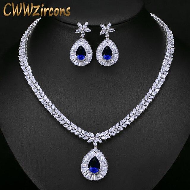CWWZircons ensemble de boucles doreilles et collier de mariée de haute qualité, couleur or blanc en zircone cubique pavée, grande goutte deau, T274