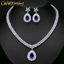 CWWZircons High Quality White Gold Color Cubic Zirconia Paved Big Water Drop Bridal Wedding Necklace And Earring Set T274(China)