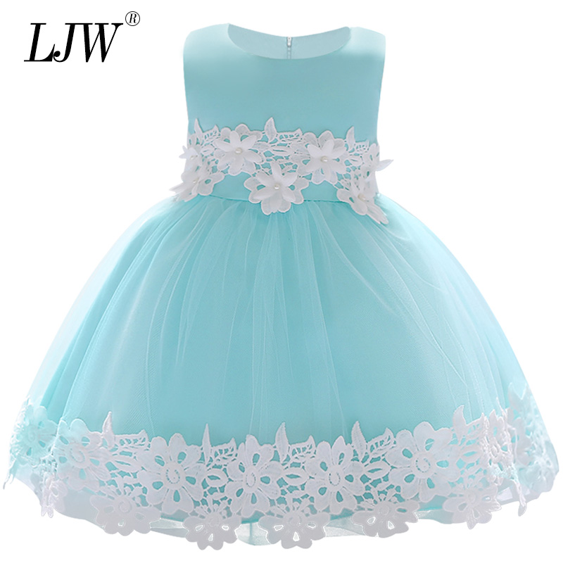 2018 Baby Lace Flower Christening Gown Baptism Clothes Newborn Kids Girls Birthday Princess Infant Party Dresses Costume