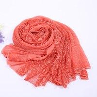 Plain Lace Floral Embroider Cotton Linen Women Scarf 2016 Solid Shawls Head Wraps Long Scarfs Women