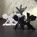 Fashion kitchen iron art craft black white spoon fork knife napkin paper holder tissue block rack home hotel cafe table decor