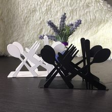 Fashion kitchen iron art craft black white spoon fork knife napkin paper holder tissue block rack home hotel cafe table decor(China)