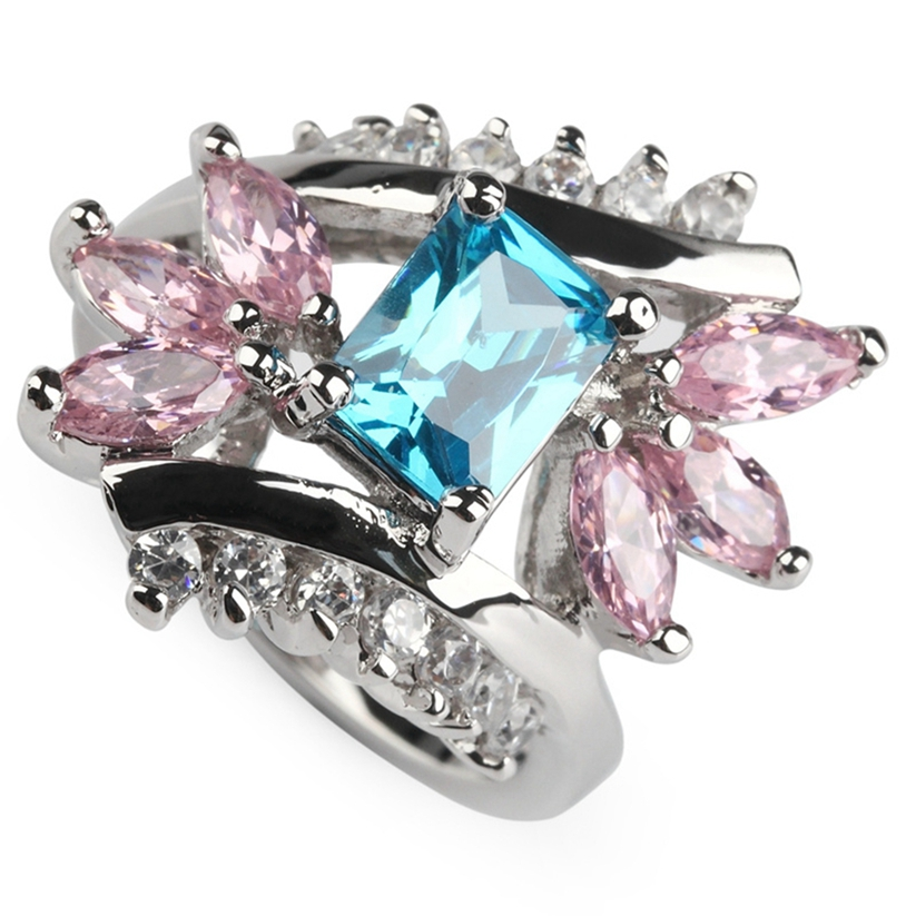 Fleure Esme Engagement Wedding Clearance Pink and blue Cubic Zirconia Jewelry Silver Plated Rings R227 sz# 6 7 8 9 Markdown sale