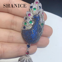 SHANICE Diy Jewelry Findings Bijoux Zircon Peacock Clasps For Bracelets Necklaces Connector Charm Copper Animal Micro Pave