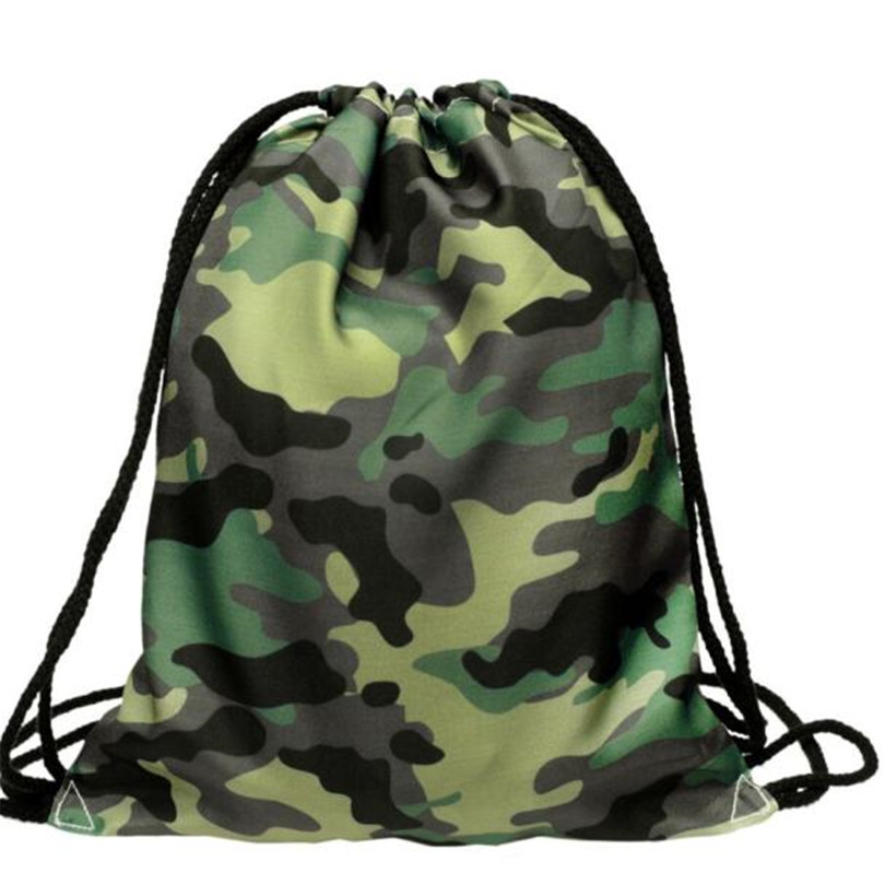 Fashion Unisex Camouflage Drawstring Backpack 3D Printing Backpack Drawstring Bags Hakuna Matata School Shoe Bag A30