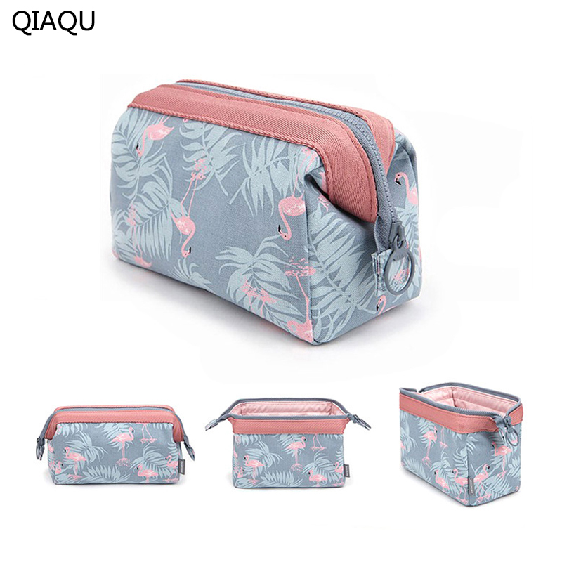 QIAQU 2017 Fashion Flamingo Feather Pattern Polyester Travel Cosmetic Bag Zipper Elegant Drum Wash Makeup Storage Bag Organizer