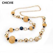 Женское винтажное ожерелье chicvie длинное золотого цвета с