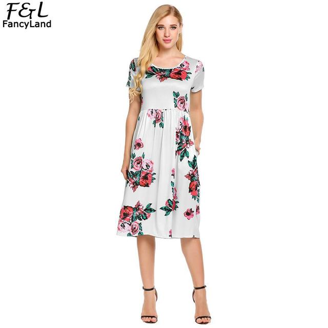 c06e360e78 Women Dress Vestidos 2018 Summer Dress Women O-Neck Short Sleeve Plated Floral  Print Beach Party Midi Dresses