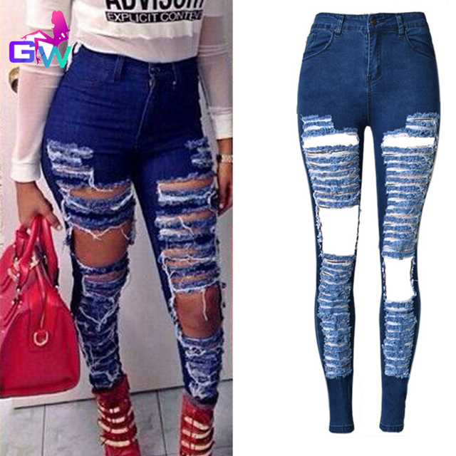 e3e6096742f Womens Ripped Jeans 2016 Spring New Fashion Street Style Slim Stretch Jeans  for Women Big Hole Washed Denim Nine Points Pants