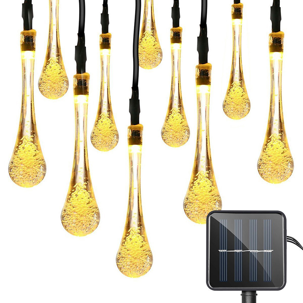 6M 30 LEDs Solar Fairy Lights Waterproof Water Drop Garland LED Decoration for Outdoor Garden Christmas Xmas String Lights