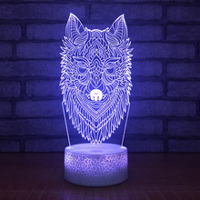 New Wolf Head Mask Night Light Colorful Color Led 3d Lamp Special Decorative Atmosphere 3d Light Fixtures