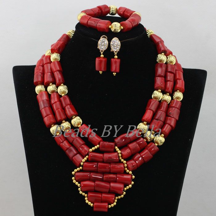 Traditional Indian Bridal Jewelry Sets African Wedding Coral Bead ...
