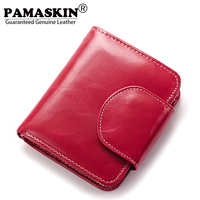 2017 Newest Oil Wax Leather Magnetic Buckle Vertical Style Feminine Wallets Fashion Designer Multi Function Women