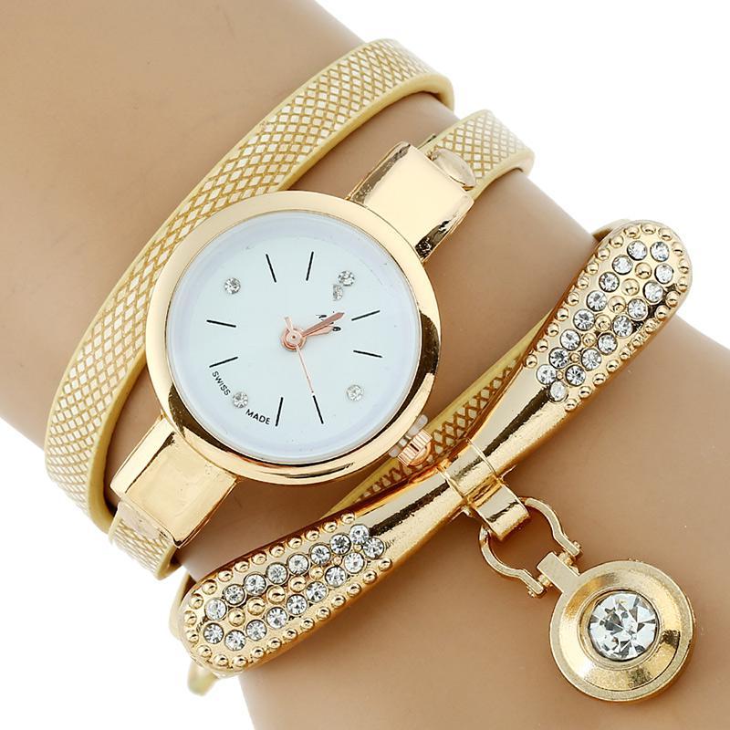 Ouriner Fashion Luxury Brand New Women Rhinestone Gold Bracelet Watch Pu Leather Ladies Quartz Casual Wristwatch DR001 popular brand watch women gold bracelet weave leather