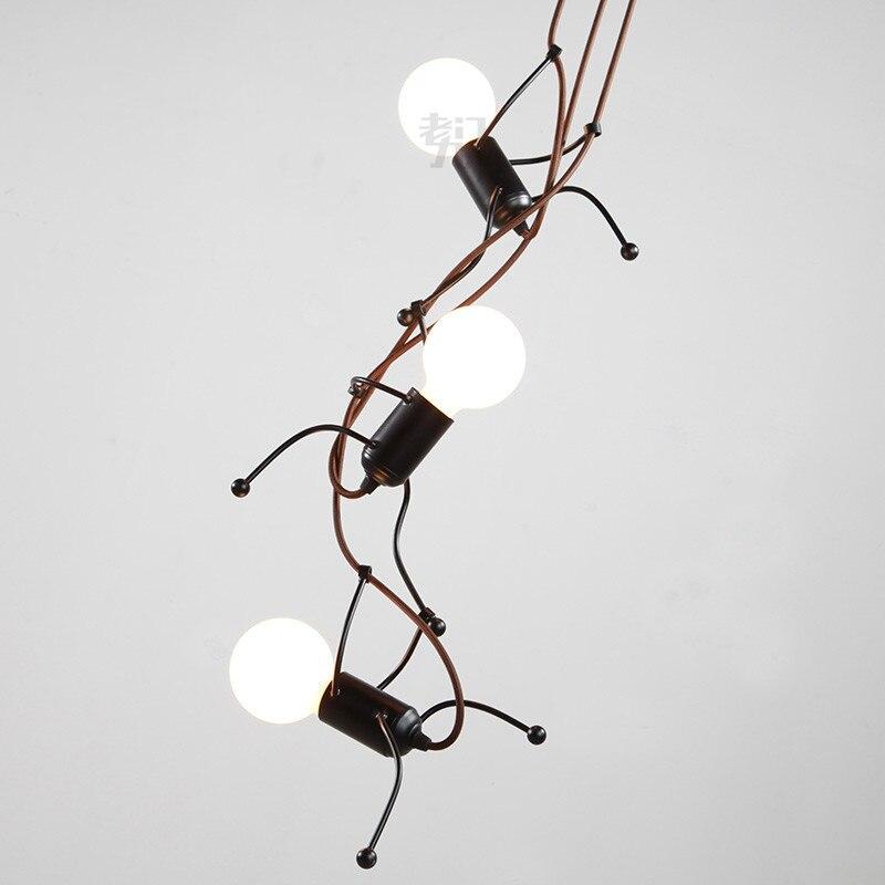 MINI ferro de loja de roupas 3/6 cabeças de luz pingente restaurante bar sala de estar retro lâmpada de cabeceira quarto lâmpada pingente wl323924 - 2
