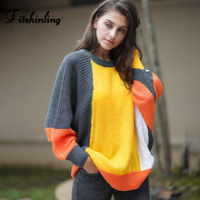 Fitshinling Contrast Color Patchwork Pullovers Sweaters Women Winter 2019 Twist Batwing Sleeve Loose Jumper 2019 New Pull Femme contrast panel batwing sleeve tee
