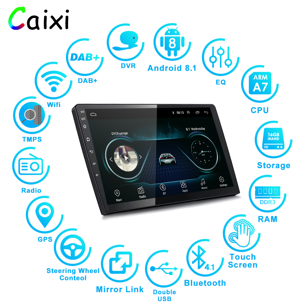 Image 2 - 9/10 inch Android 8.1 2 Din Car radio Multimedia Playe Universal auto Stereo  Gps Navigation   Bluetooth Video  Player Rear Cam-in Car Multimedia Player from Automobiles & Motorcycles