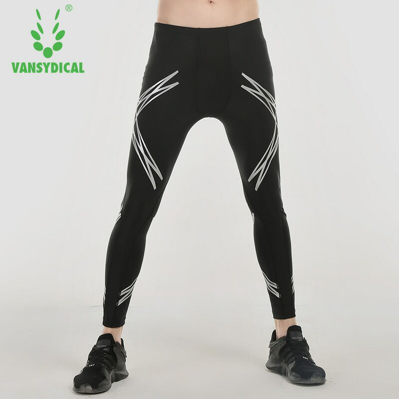 SPT Vansydical Mens Printed Compression Pants Fitness Running Tights Quick Dry Basketball Workout Jogging Gym Sports Leggings