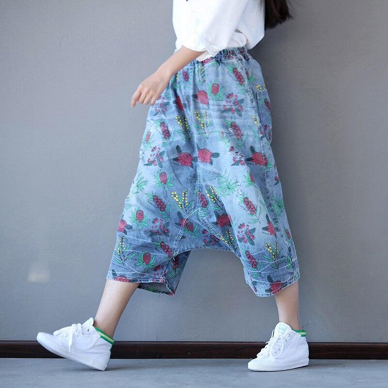 Denim Haute Femme Pour Lâche D'impression La Femmes Printemps Taille Été 2019 Coton Plus Jeans Harem 1 longueur Jean Pantalon Veau vwq1wZEd